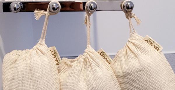 Close up cotton storage bags