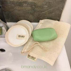 Cottton storage bag and reusable bamboo pads